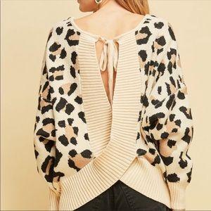 colorsandbloom Sweaters - Open back Leopard Sweater